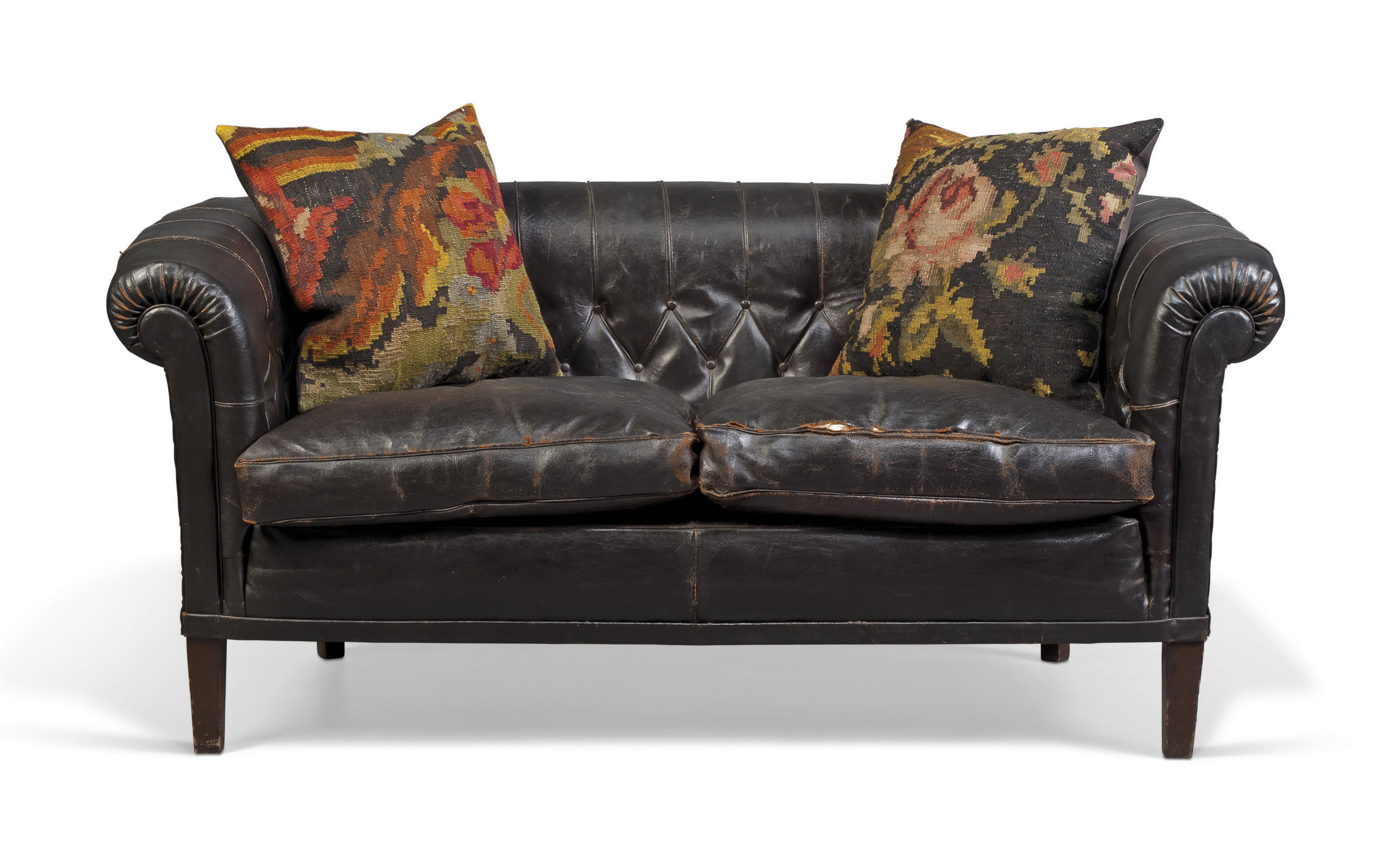 A BLACK BUTTONED LEATHER CHESTERFIELD SOFA | 20TH CENTURY ...