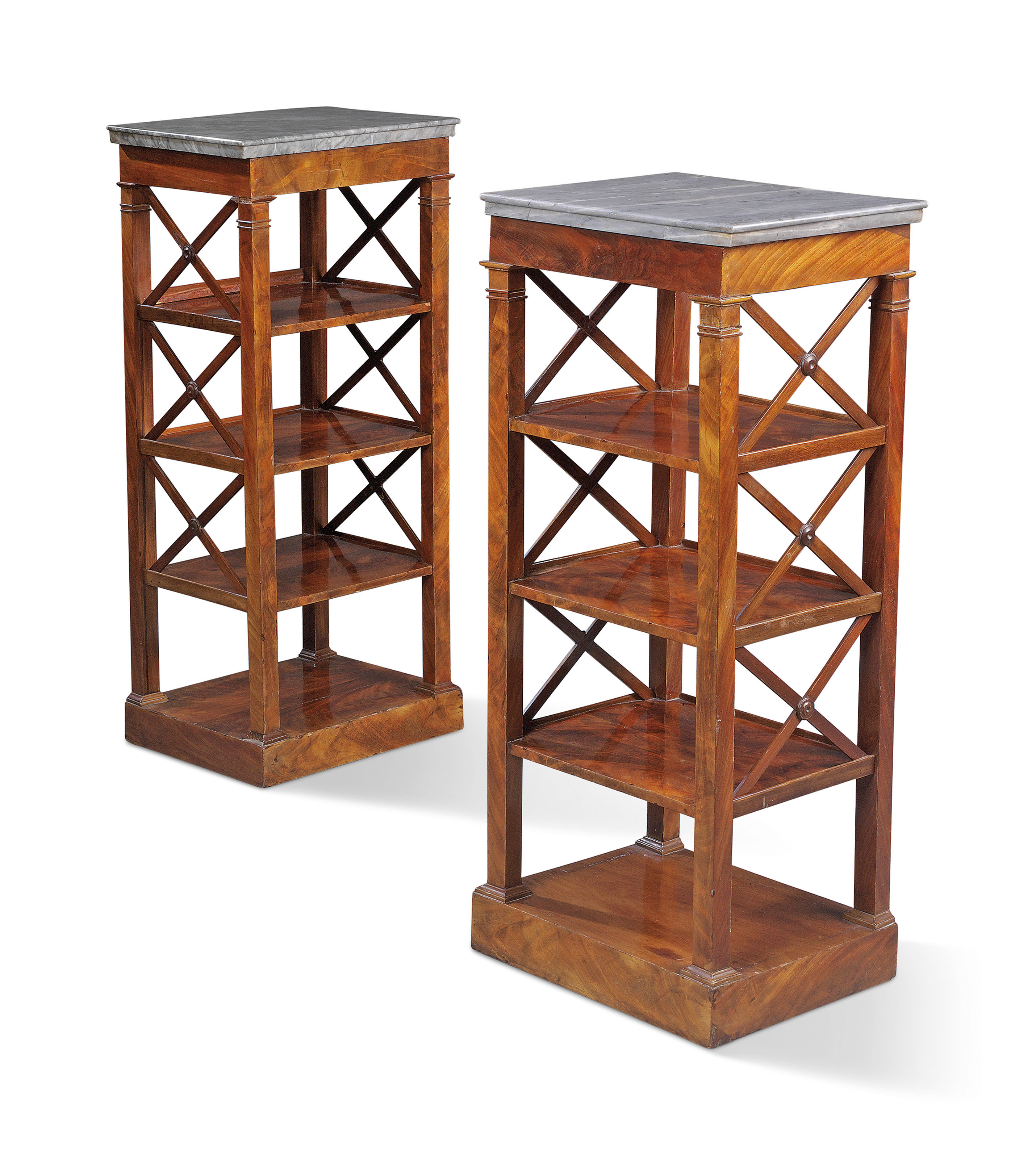 Louis Philippe Open Bookcase: A PAIR OF OF LOUIS-PHILIPPE MAHOGANY OPEN BOOKCASES OR