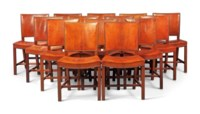 FOURTEEN 'RED' MAHOGANY AND LEATHER CHAIRS, MODEL NO. 3758