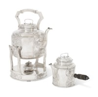A DANISH SILVER KETTLE, STAND AND LAMP AND TEAPOT