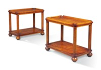 A PAIR OF BURR-ELM AND OAK TWO TIER OCCASIONAL TABLES