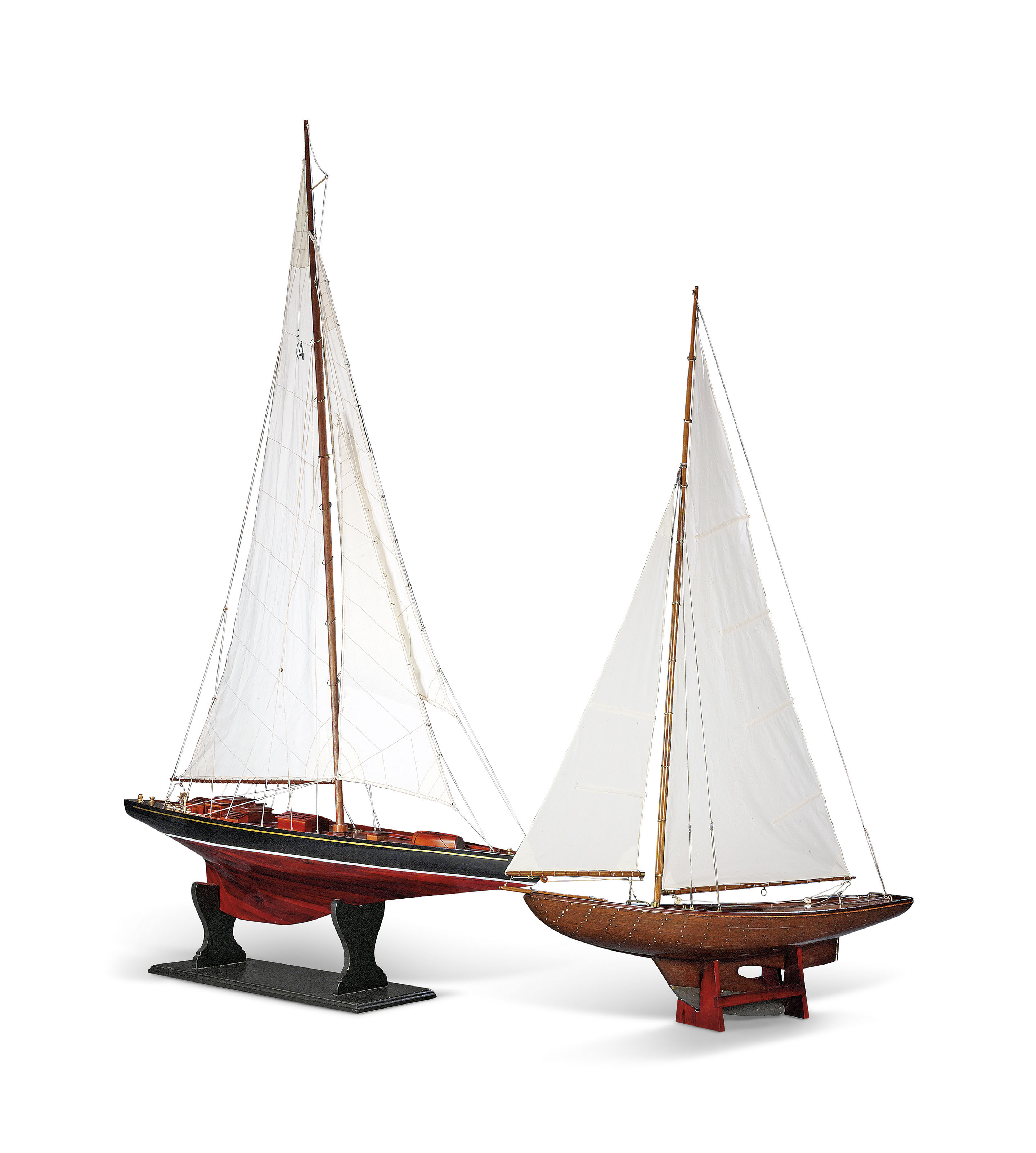 TWO MODELS OF SAILING BOATS | THE SMALLER, PINE, MID-20TH