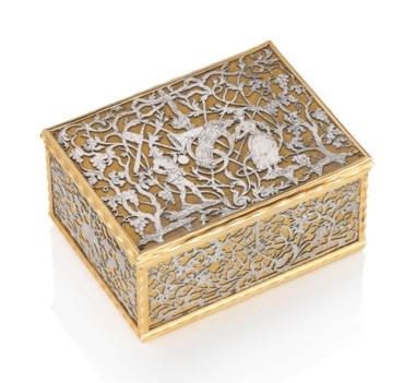 A German gold and steel snuff-box, Probably Berlin, c.17501760. 3⅛  in (80  mm) wide. Estimate £120,000-180,000. Offered in Gold Boxes An Important Private Collection on 5 December 2018 at Christie's in London