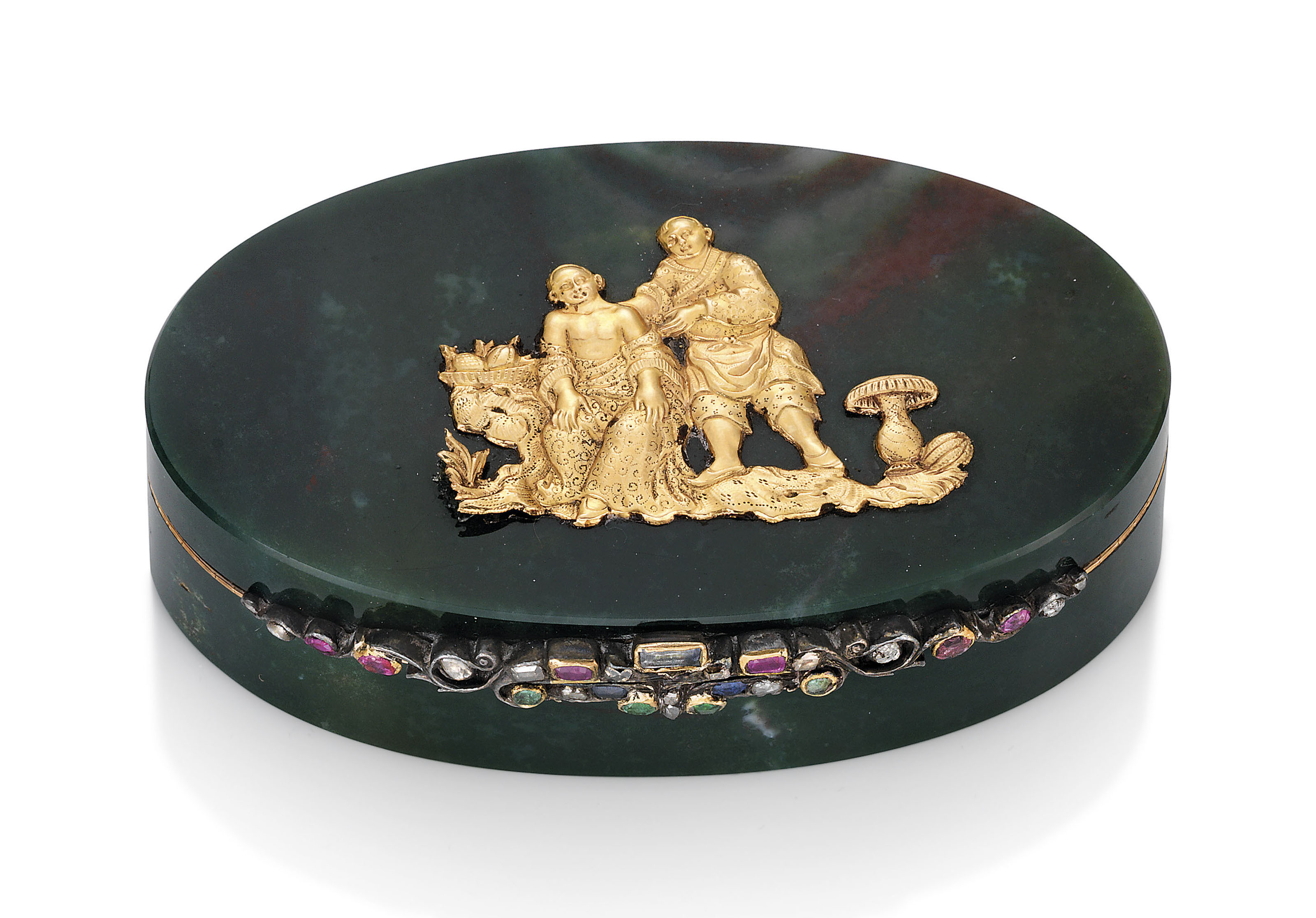AN AUSTRIAN JEWELLED GOLD-MOUNTED HARDSTONE SNUFF-BOX