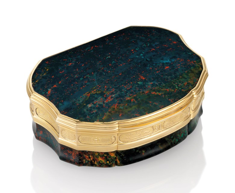 A Louis XV Italian gold and hardstone snuff-box, by Louis Siriès (c.1686-after 1766), Florence, c.1730. 3½  in (90  mm) wide. Estimate £150,000-200,000. Offered in Gold Boxes An Important Private Collection on 5 December 2018 at Christie's in London