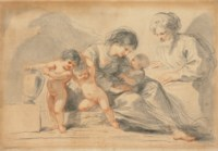 The Holy Family with two putti