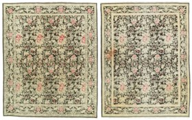 A NEAR PAIR OF EASTERN EUROPEAN PILE CARPETS