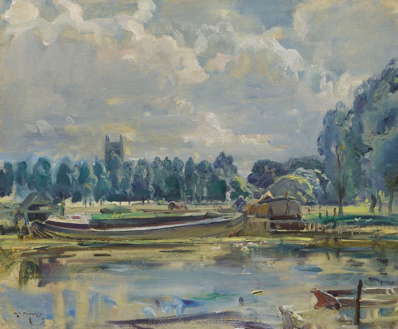 Sir Alfred James Munnings, P.R.A., R.W.S. (1878-1959), A barge on the Stour, Dedham. 20 x 24  in (50.8 x 61  cm). Estimate £120,000-180,000. This lot is offered in British Impressionism on 20 November 2018 at Christie's in London