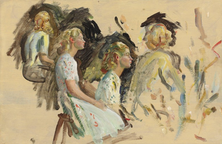 Sir Alfred James Munnings, P.R.A., R.W.S. (1878–1959), Portrait studies of Yvonne Adams, née Gates. 11 x 16 ¾  in (27.9 x 42.5  cm). Estimate £18,000-22,000. This lot is offered in British Impressionism on 20 November 2018 at Christie's in London