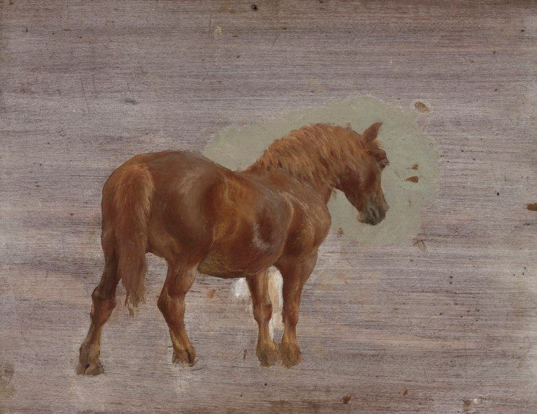 Sir Alfred James Munnings, P.R.A., R.W.S. (1878-1959), A Suffolk punch (recto); and Study of a horse and cart (verso). 11⅝ x 15⅛  in (32.1 x 38.3  cm). Estimate £12,000-18,000. This lot is offered in British Impressionism on 20 November 2018 at Christie's in London