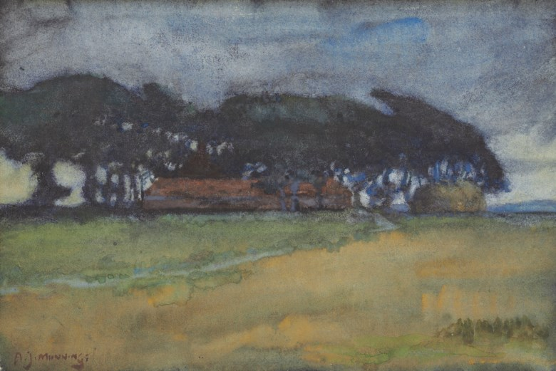 Sir Alfred James Munnings, P.R.A., R.W.S. (1878-1959), A farmstead at Stithians, Cornwall. 7 ¼ x 10⅝  in (18.4 x 27  cm). Estimate £4,000-6,000. This lot is offered in British Impressionism on 20 November 2018 at Christie's in London