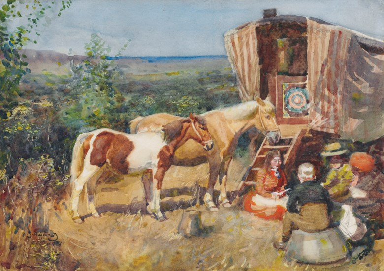 Sir Alfred James Munnings, P.R.A., R.W.S. (1878-1959), Gypsy Camp. 10⅝ x 14⅞  in (27 x 37.8  cm). Estimate £25,000-35,000. This lot is offered in British Impressionism on 20 November 2018 at Christie's in London