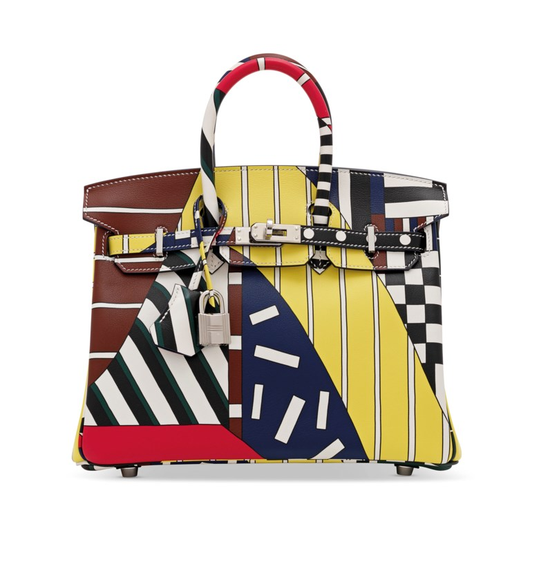 A limited-edition multicolour swift leather One Two Three & Away We Go Birkin 25 with palladium hardware by Nigel Peake, Hermès, 2018. Dimensions 25 w x 19 h x 14 d cm. Sold for £27,500 on 12 December 2018 at Christie's in London