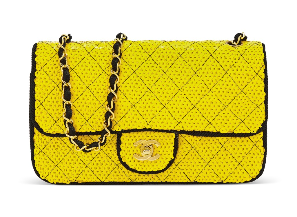 5458808a3279 A YELLOW SEQUIN SINGLE FLAP BAG WITH GOLD HARDWARE