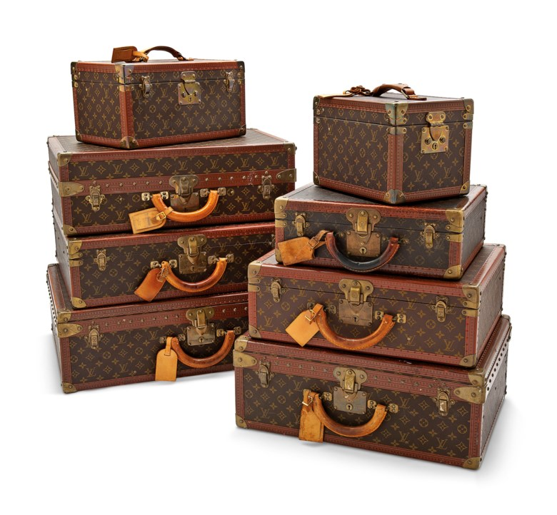 A set of eight classic Monogram Canvas hardsided suitcase trunks, Louis Vuitton, 20th century. From 30 w x 22 h x 20 d cm to 70 w x 47 h x 22 d cm. Estimate £8,000-10,000. This lot is offered in Handbags & Accessories on 12 December 2018 at Christie's in London
