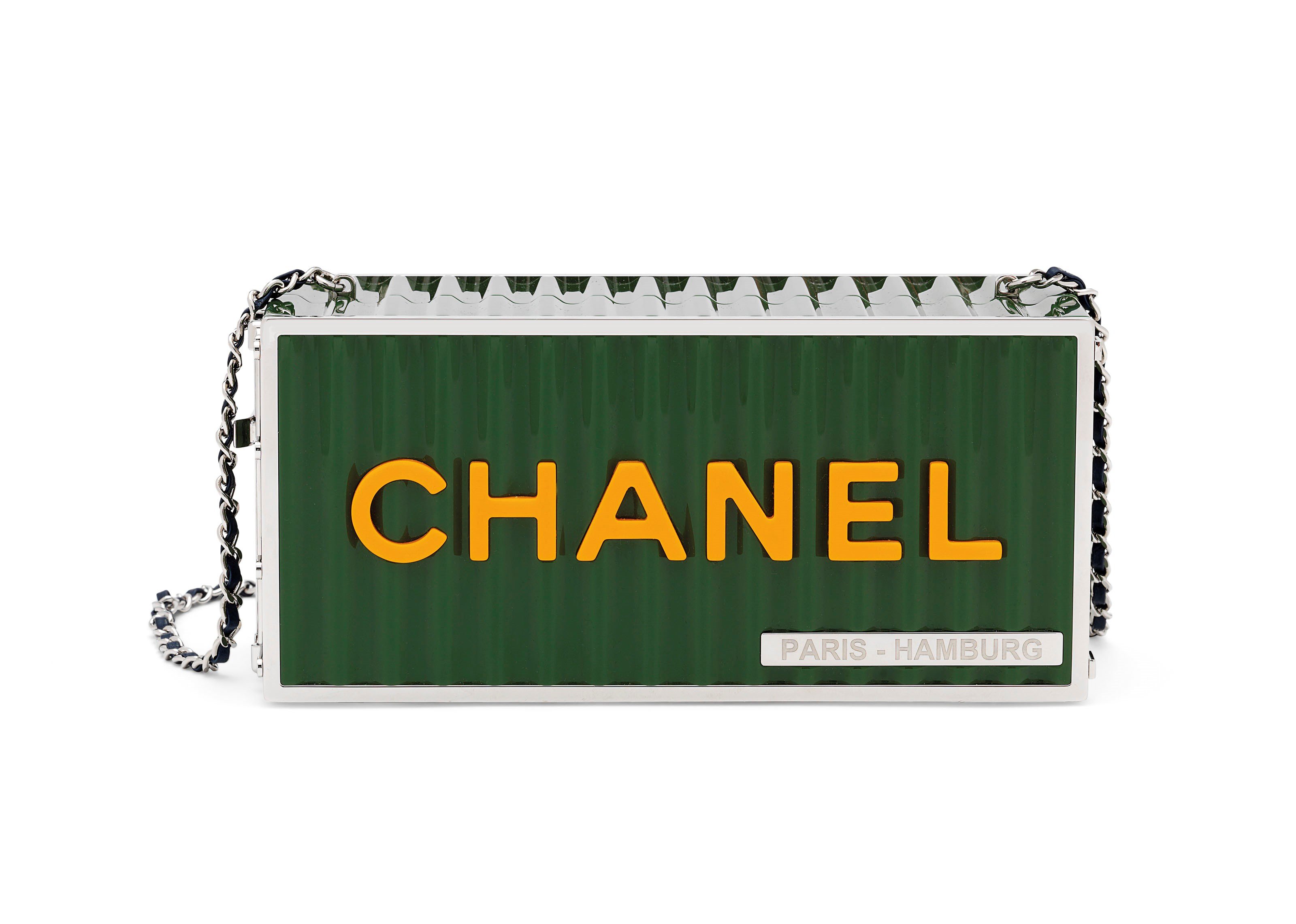A Métiers D'Art Paris-Hamburg forest green lucite Shipping Container evening bag, Chanel, 2018. 19.5 w x 9 h x 8 d cm. Sold for £7,500 on 12 December 2018 at Christie's in London