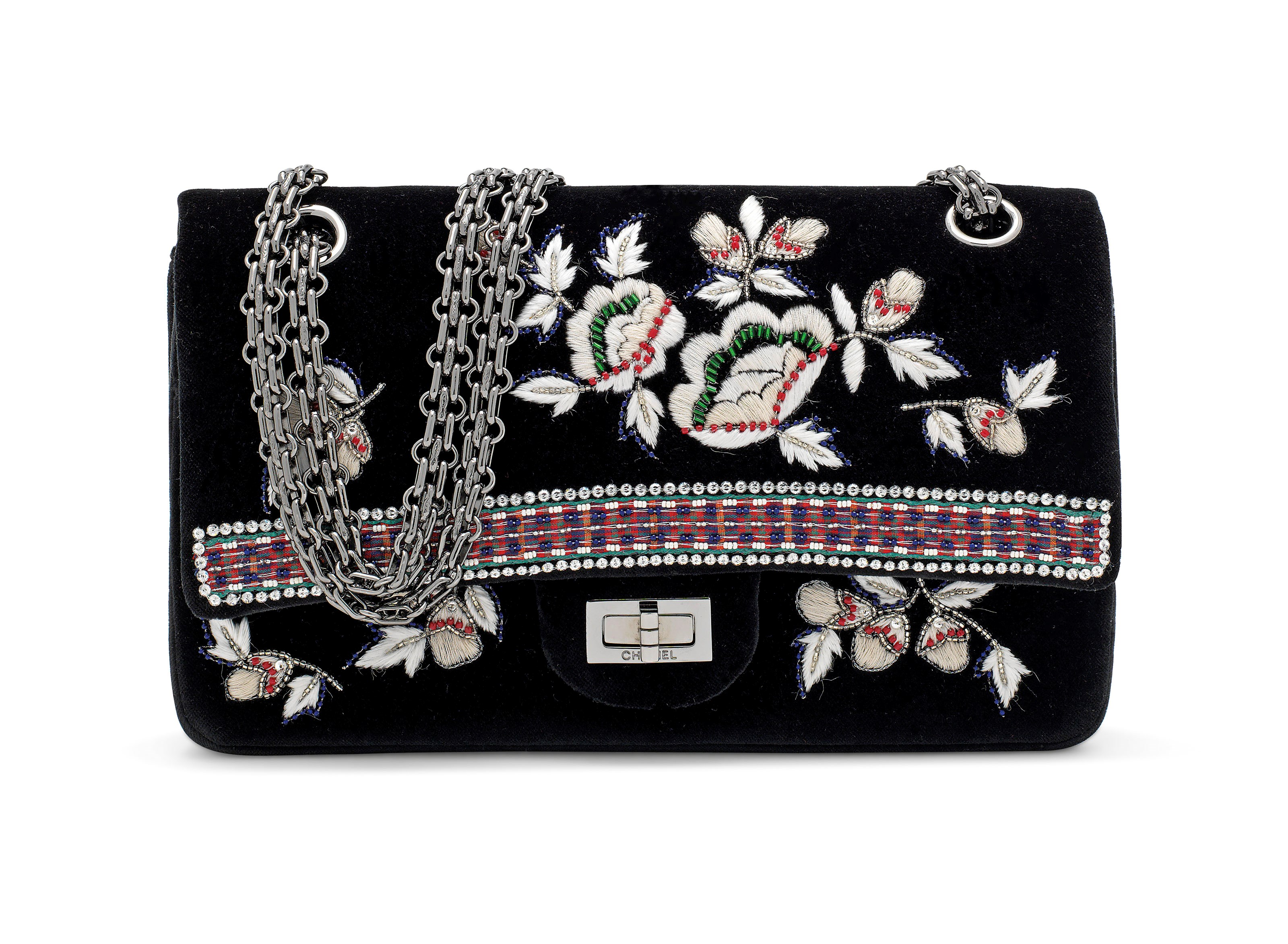 A Métier dArts Paris-Salzburg Lesage embroidery & velvet medium double flap 2.55 with Ruthénium Hardware, Chanel, 2016. 25 w x 15 h x 8 d cm. Estimate £2,000-3,000. This lot is offered in Handbags & Accessories on 12 December 2018 at Christie's in London