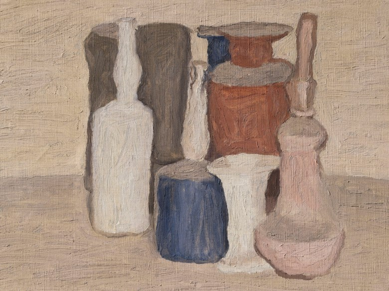 Giorgio Morandi (1890-1964), Natura morta, painted in 1950. 14 x 17⅞  in (35.6 x 45.4  cm). Sold for £1,328,750 in Thinking Italian on 4 October 2018 at Christie's in London