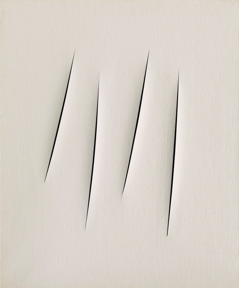 Lucio Fontana (1899-1968), Concetto spaziale, Attese, executed in 1965. 28⅞ x 23⅝ in (73.5 x 60 cm). Estimate £2,000,000-3,000,000. This lot is offered in Thinking Italian on 4 October 2018 at Christie's in London