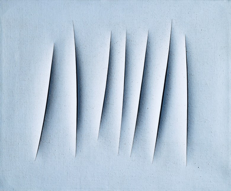 Lucio Fontana (1899-1968), Concetto spaziale, Attese , executed in 1964. 23⅝ x 28 ¾ in (60 x 73 cm). Estimate £1,800,000-2,500,000. This lot is offered in Thinking Italian on 4 October 2018 at Christie's in London