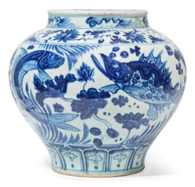 A YUAN-STYLE BLUE AND WHITE 'FISH' JAR, GUAN