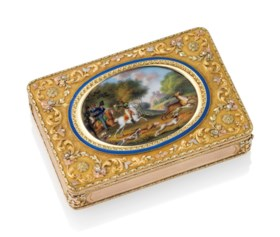 A GERMAN ENAMELLED VARI-COLOUR GOLD SNUFF-BOX