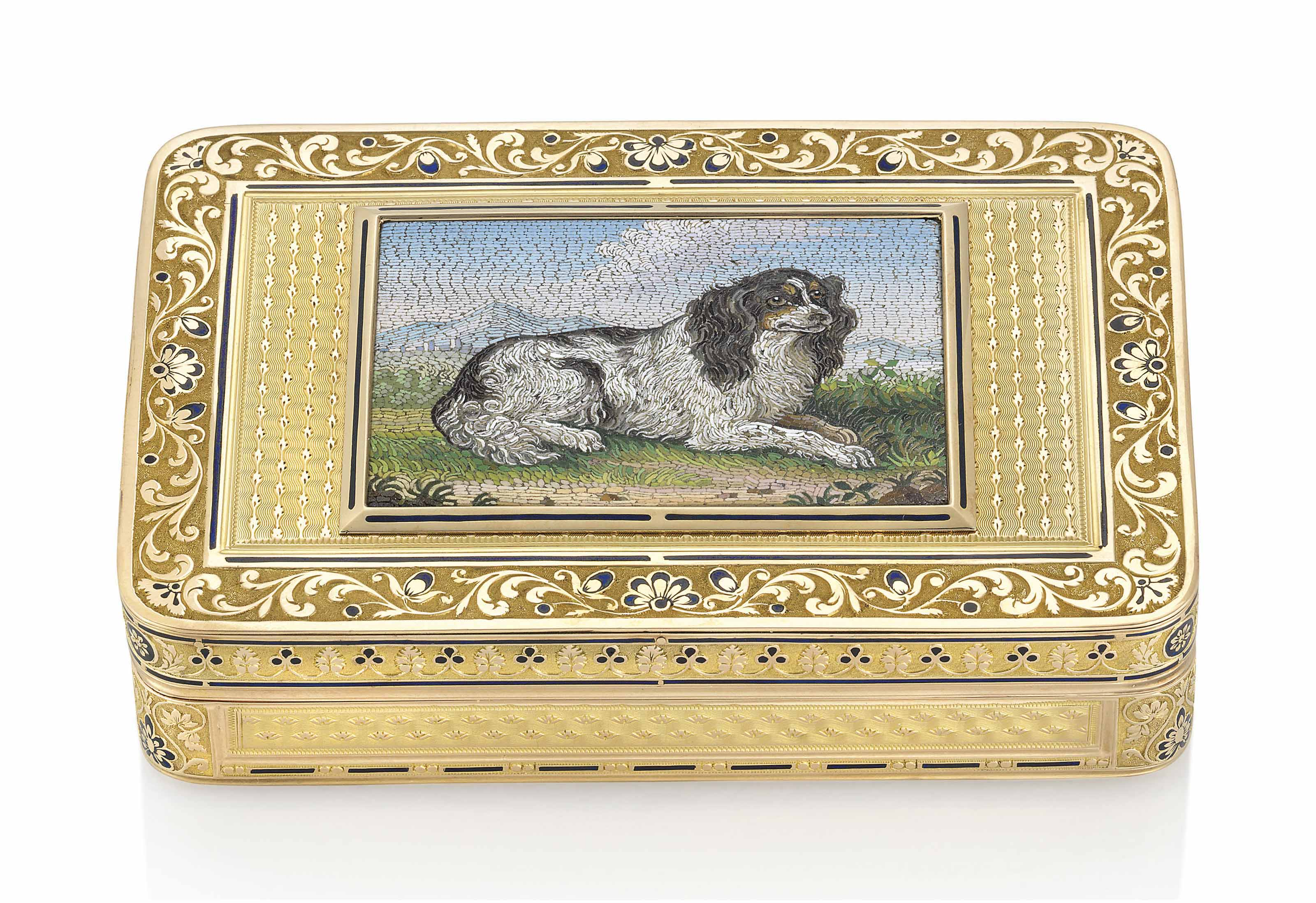 A SWISS ENAMELLED GOLD SNUFF-BOX SET WITH A MICROMOSAIC PLAQUE