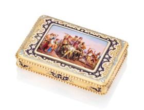 A SWISS ENAMELLED GOLD SNUFF-BOX