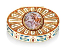 A CONTINENTAL ENAMELLED GOLD SNUFF-BOX