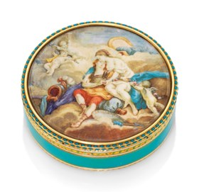 A RUSSIAN ENAMELLED GOLD SNUFF-BOX SET WITH A MINIATURE