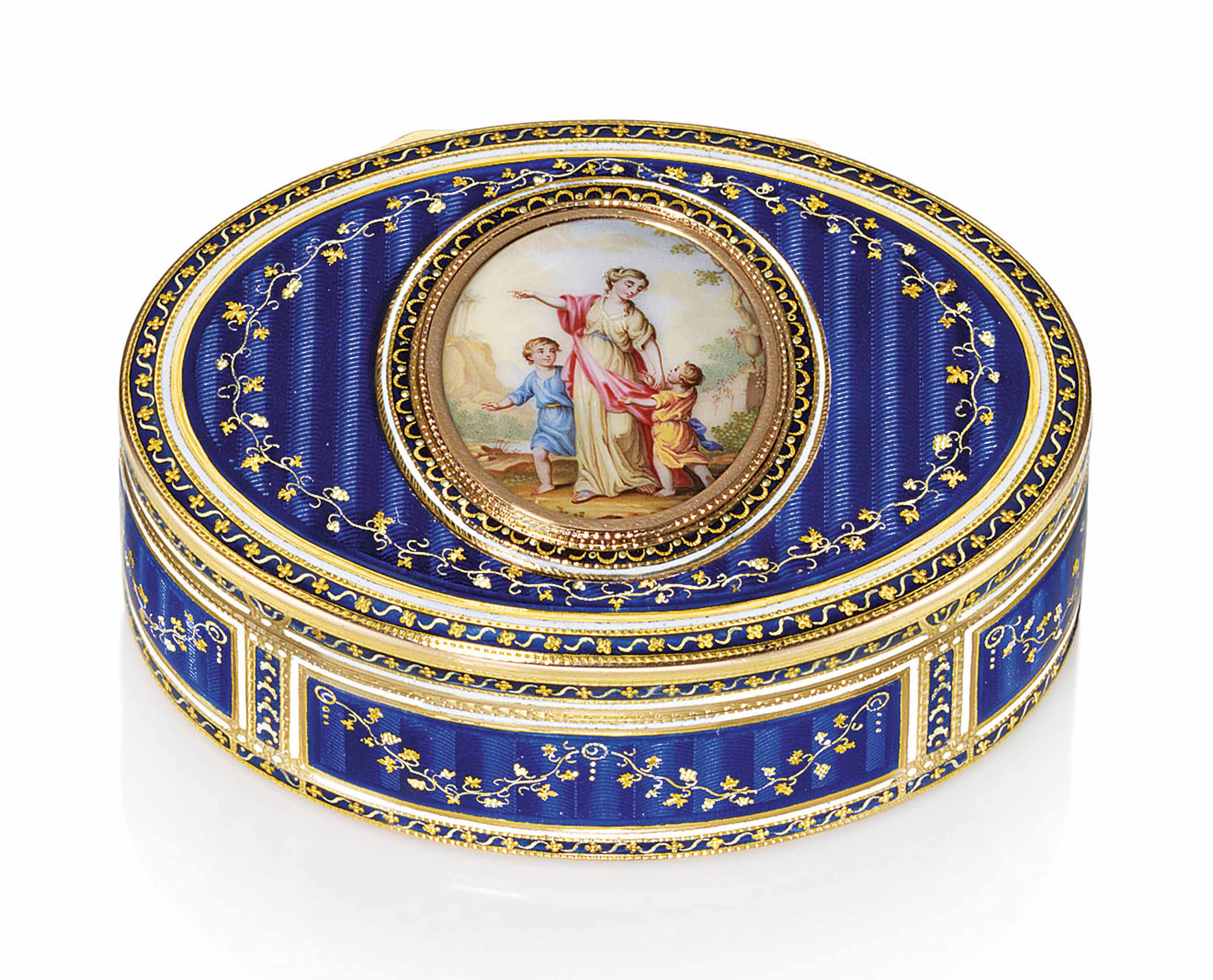 a german enamelled gold snuff box by esaias obicker 1733 1802 marked hanau circa 1770. Black Bedroom Furniture Sets. Home Design Ideas