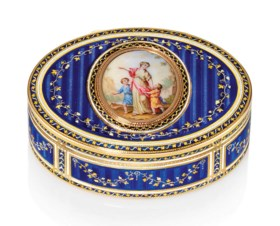 A GERMAN ENAMELLED GOLD SNUFF-BOX