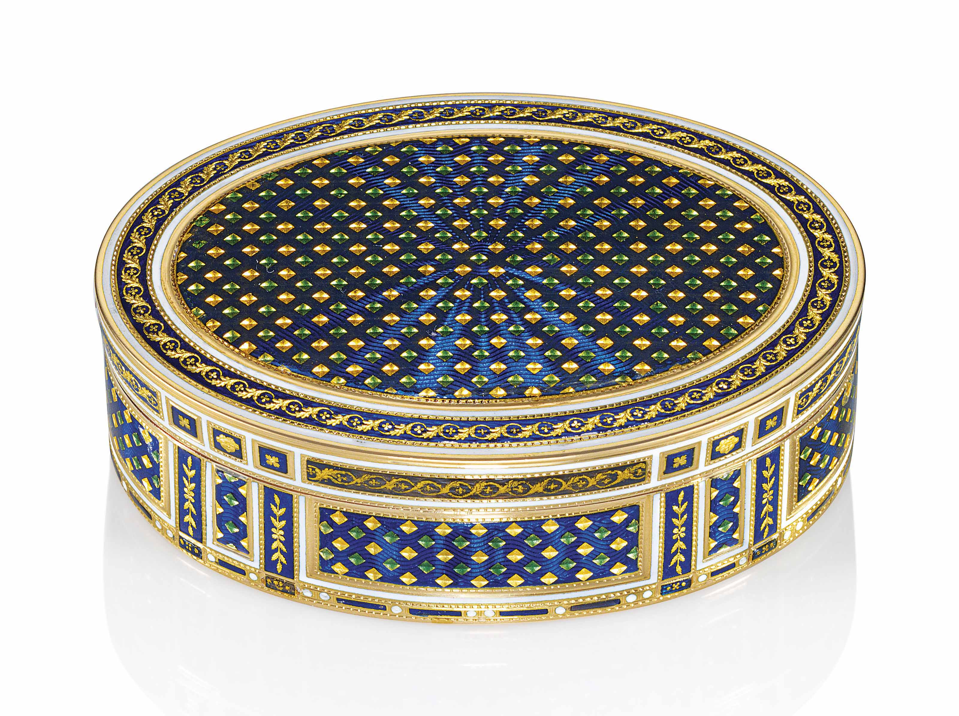 A LOUIS XVI ENAMELLED GOLD SNUFF-BOX