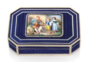 AN AUSTRIAN JEWELLED ENAMELLED GOLD SNUFF-BOX