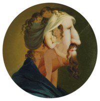 Head of a man in profile composed of six female nudes