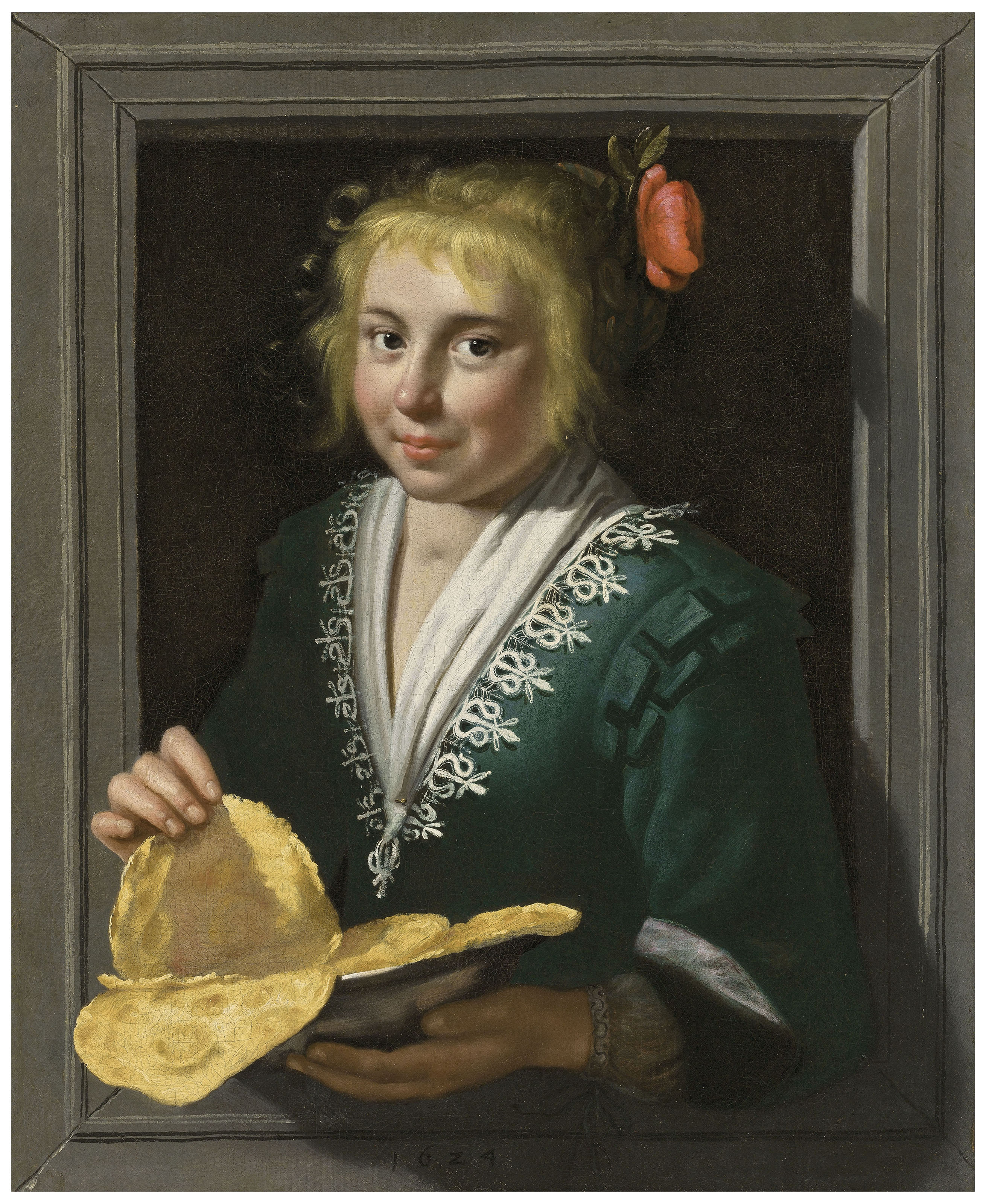 A girl holding pancakes in a feigned stone window