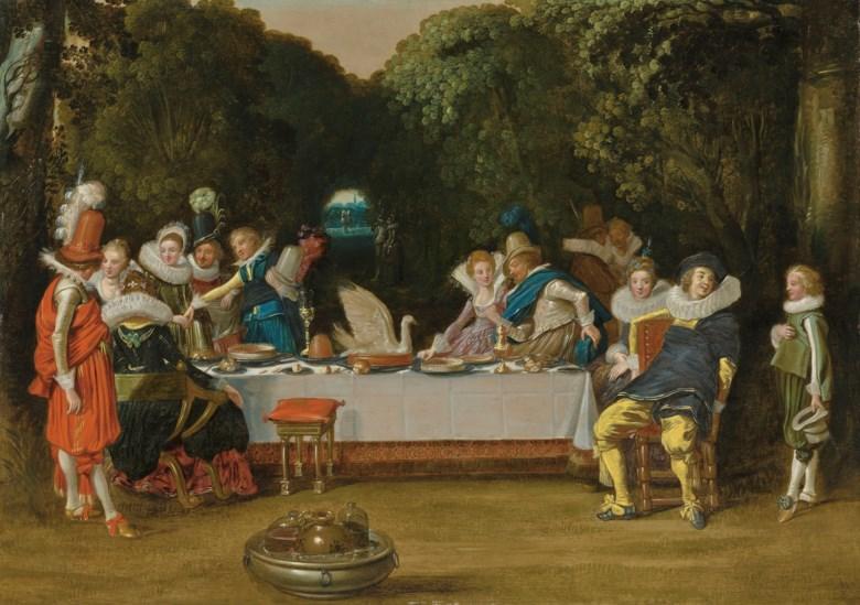 Dirck Hals (Haarlem 1591-1656), Elegant figures feasting in a garden. 19½ x 27⅞  in (49 x 70.8  cm). Sold for £162,500 on 6 December 2018 at Christie's in London