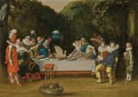 Elegant figures feasting in a garden