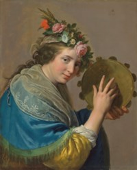 Shepherdess with a tambourine