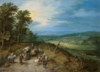 An extensive wooded landscape with travellers on a road, a church in the distance