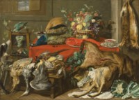 A larder with a draped table laden with game, a lobster, vegetables and fruit in a basket, and kraak porcelain, with a parrot and two hounds