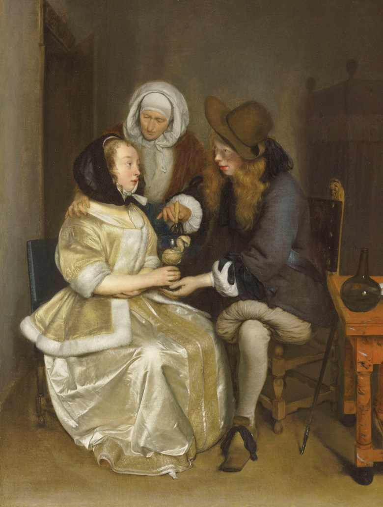 Gerard ter Borch (Zwolle 1617-1681 Deventer), Glass of Lemonade. 26⅞ x 22  in (68.3 x 55.9  cm).