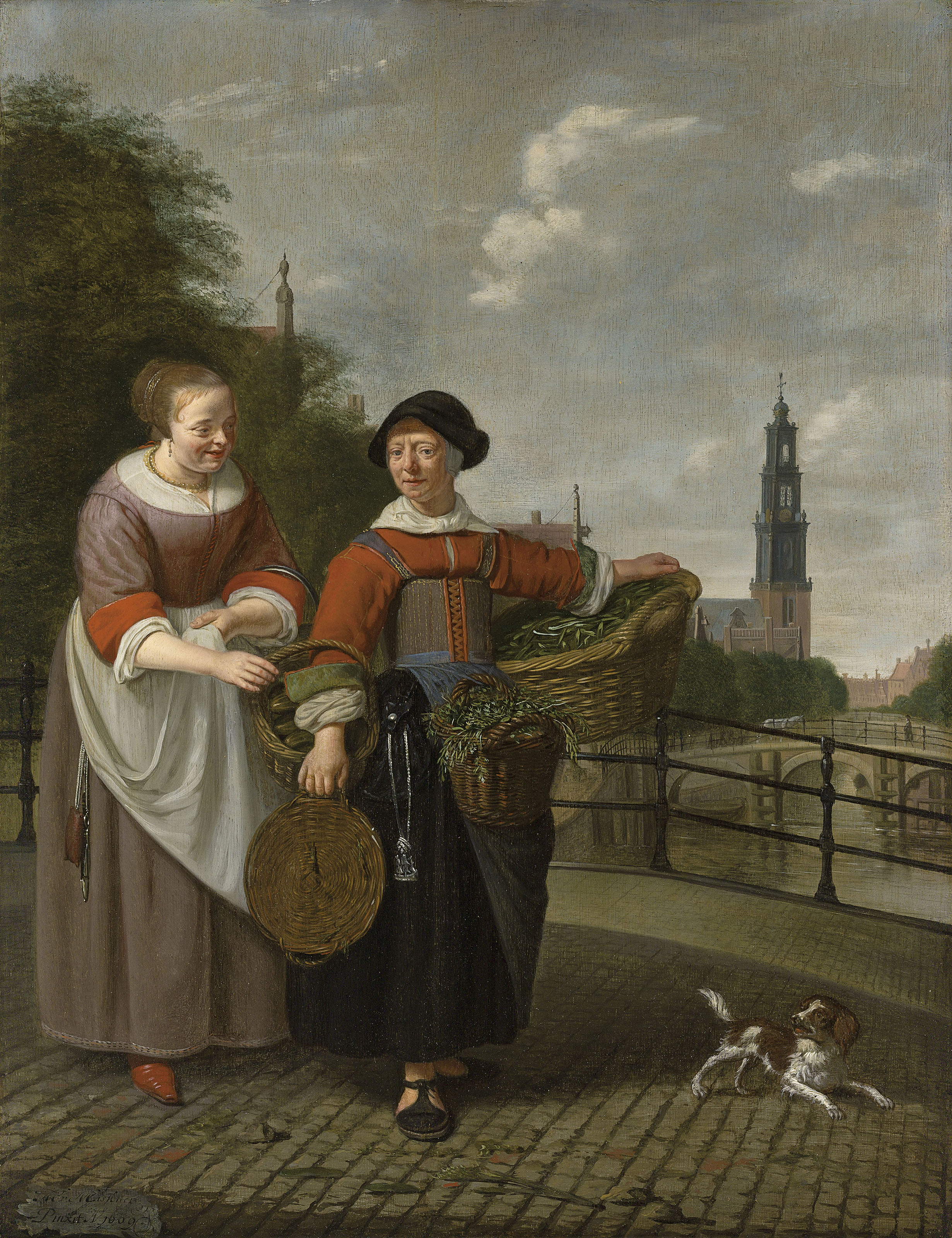 A female merchant and a maid at the Eenhoornsluis in Amsterdam