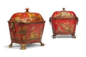 TWO REGENCY RED AND GILT-JAPANNED TOLE COAL-BOXES