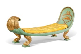 A REGENCY PARCEL-GILT AND TURQUOISE-PAINTED CANED DAYBED