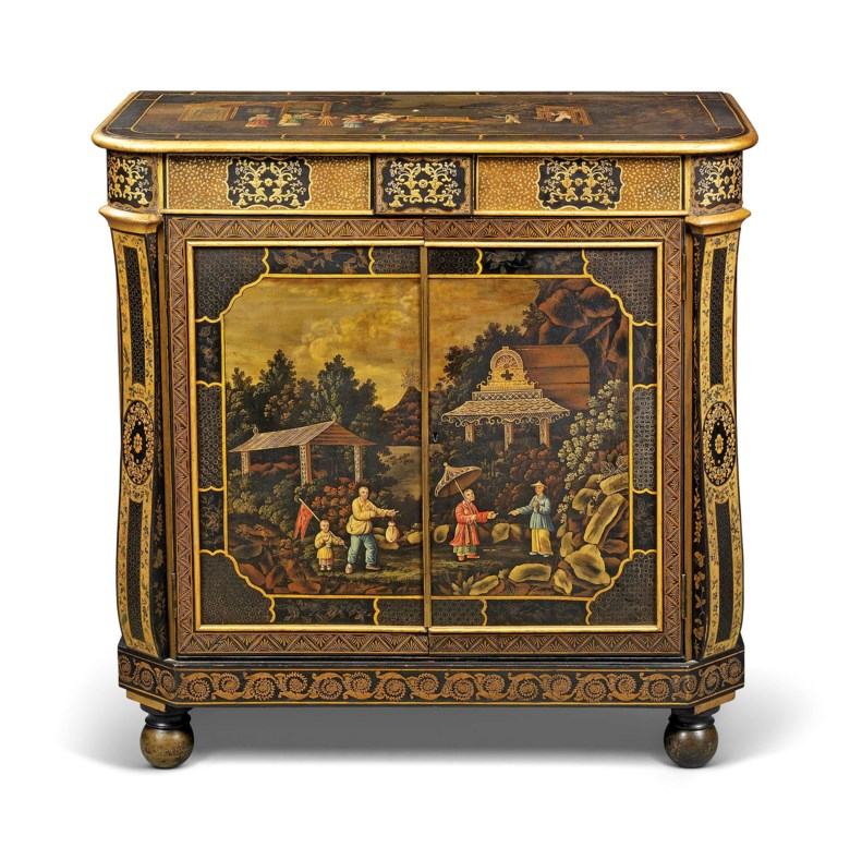 A Regency chinoiserie japanned tole and penwork side cabinet, attributed to Frederick Crace, circa 1810, probably Pontypool. 36¾  in (93.5  cm) high; 37¼  in (94.5  cm) wide; 18¾  in (47.5  cm) deep. Estimate £40,000-60,000. This lot is offered in Kenneth Neame Including Arts of India, English and European Furniture and Works of Art, European and Chinese Ceramics,