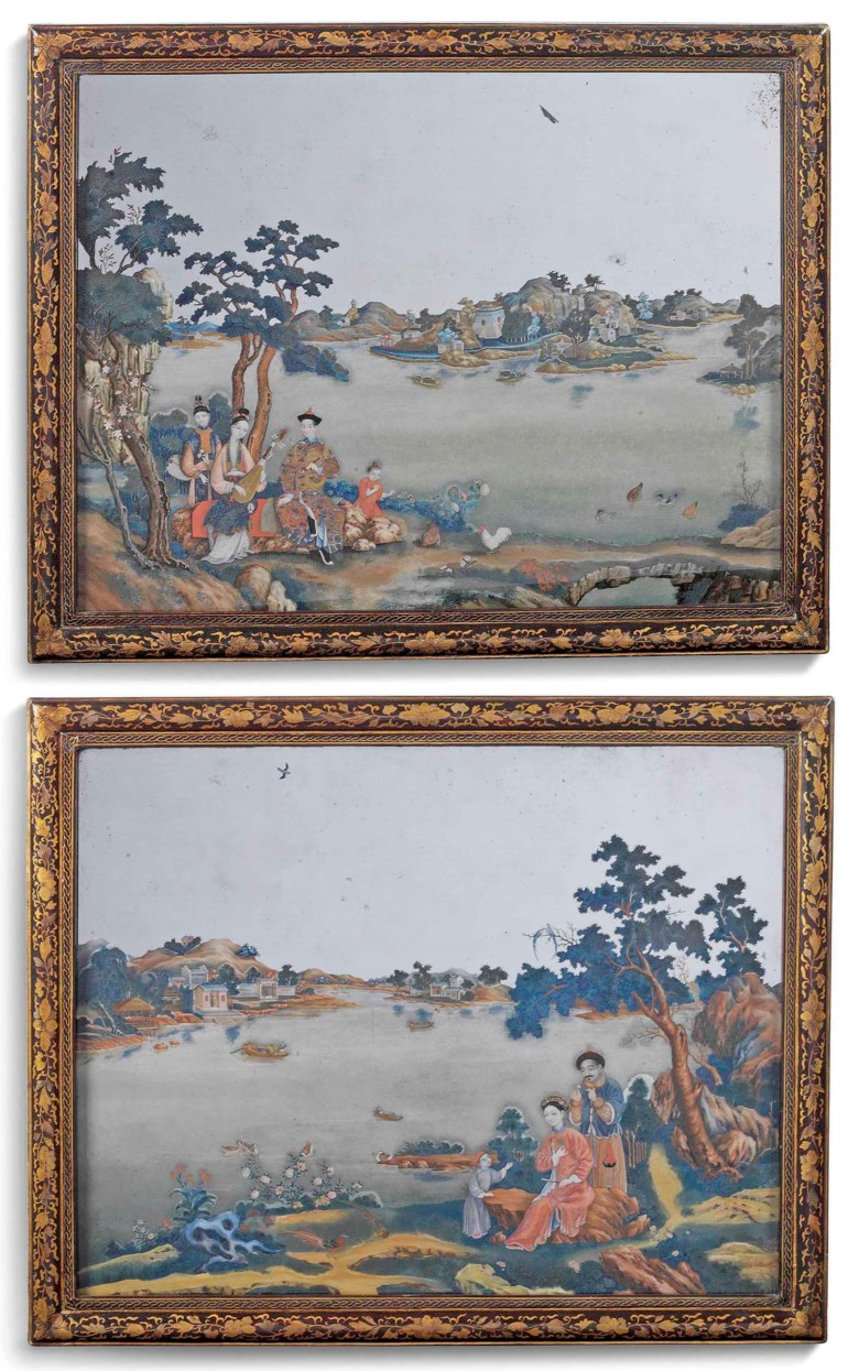 A pair of Chinese Export reverse-painted mirrors, circa 1775. 26¼ x 32¾  in (66.5 x 83  cm), overall. Estimate £50,000-80,000. This lot is offered in Kenneth Neame Including Arts of India, English and European Furniture and Works of Art, European and Chinese Ceramics, Chinese and Old Master Paintings on 13 June at Christie's in London