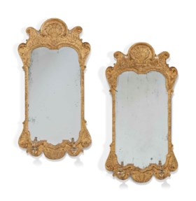A PAIR OF GEORGE I GILT-GESSO MIRRORS