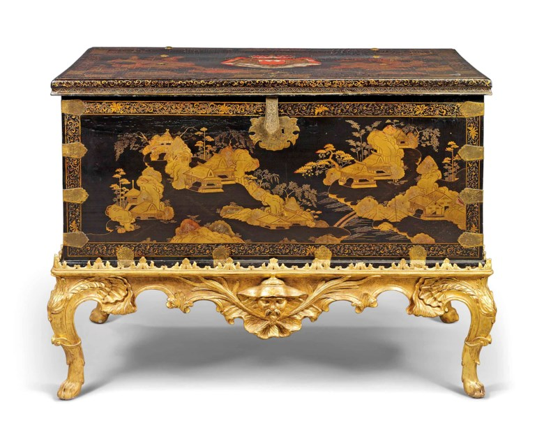 A Chinese export brass-mounted black and gilt lacquer and japanned chest, late 17thearly 18th century, on a rococo giltwood stand, circa 1740. 40  in (101.5  cm) high; 52  in (132  cm) wide; 31½  in (80  cm) deep. Estimate £15,000-25,000. This lot is offered in Kenneth Neame Including Arts of India, English and European Furniture and Works of Art, European and Chinese Ceramics,