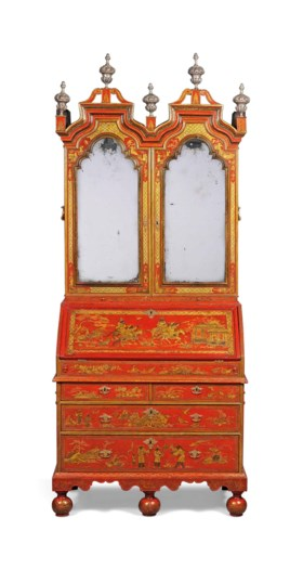 A QUEEN ANNE RED AND GILT-JAPANNED BUREAU-CABINET